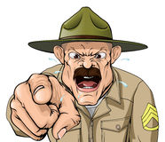 Boot Camp Drill Sergeant. An illustration of a cartoon angry boot camp drill sergeant character Stock Images