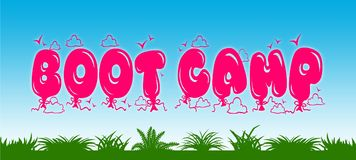 BOOT CAMP written with pink balloons on blue sky and green grass background. Royalty Free Stock Photos
