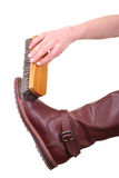 Boot cleaning with brush Stock Photo