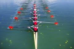 Boot coxed das Rudern mit acht Ruderern Stockbilder