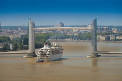 Boot cruise-Frankrijk, Aquitaine, Gironde, 33, Bordeaux Bastide, La Royalty-vrije Stock Foto