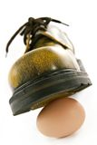 Boot crushing an egg. Metaphor of violence, pressure, wreck and force stock images