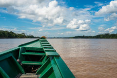 Boot in de rivier in de Peruviaanse wildernis van Amazonië in Madre DE Dios Stock Afbeelding