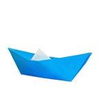 Boot des blauen Papiers lokalisiert auf Weiß Lizenzfreies Stockbild