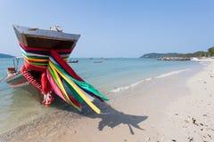 Boot des langen Schwanzes, Bandnahaufnahme Samui-Strand in Thailand Stockfotografie