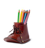 Boot For Drawing. Leather decorative holder for pencils isolated over white background Royalty Free Stock Image