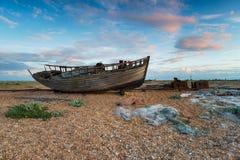 Boot in Dungeness in Kent Stock Fotografie