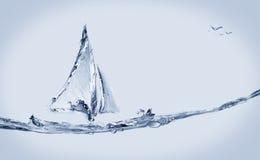 Boot en het Springen Vissen Royalty-vrije Stock Afbeelding