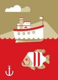 Boot en Vissenboot en Vissen Stock Afbeelding
