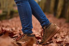 Boot on a path of leaves, autumn royalty free stock photography