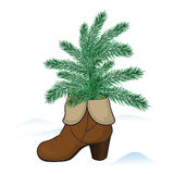 Boot with fir tree Royalty Free Stock Photo
