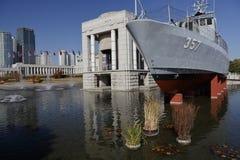 Boot gekennzeichnet im Kriegs-Denkmal von Korea, Jeonjaeng ginyeomgwan, Yongsan-Dong, Seoul, Südkorea - November 2013 stockbilder