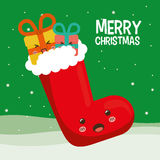 Boot and gift of Chistmas design Royalty Free Stock Images