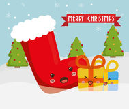 Boot and gift of Chistmas design Royalty Free Stock Photo