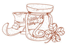 Boot gnome, nake in a glass jar, clover. Stock Images