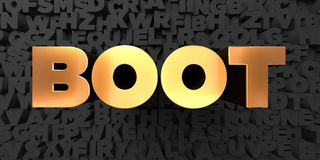 Boot - Gold text on black background - 3D rendered royalty free stock picture Stock Photography
