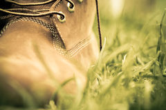 Boot on grass royalty free stock image