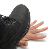Boot On Hand Stock Photography