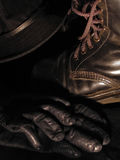 Boot hat gloves. Leather boots and gloves, corduroy hat Royalty Free Stock Photo