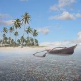 Boot in het paradijs Stock Foto's