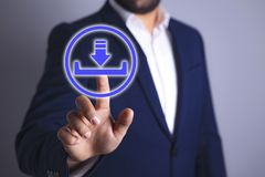 Boot icon in businessman hand stock image