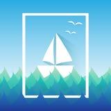 Boot im Meer für Sommerthema Lizenzfreies Stockfoto