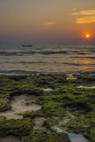 Boot im Sonnenuntergang Lizenzfreie Stockfotos