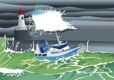 Boot kommen in Hafen herein Lizenzfreie Stockbilder