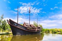 Boot landelijke stijl Thai bij oude stad Royalty-vrije Stock Foto's