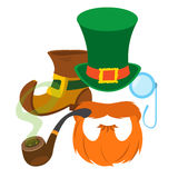 Boot leprechaun, red beard, pipe, angered hat, monocle. Royalty Free Stock Photos