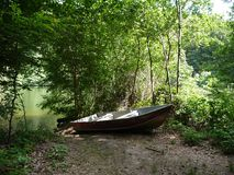 Boot in meer bij bos stock afbeelding