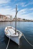 Boot mit Fischerdorf im Hintergrund Stockbilder