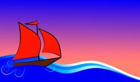 Boot mit roten Segelflößen Stockfotos