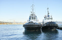 Boot mit zwei Schleppern Lizenzfreie Stockfotos