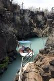 Boot op de eilanden van de Galapagos Stock Foto