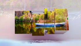 Boot op de lentemeer, het Multikader van de fotodoos Royalty-vrije Stock Afbeeldingen