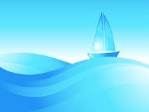 Boot op de overzeese golven. Royalty-vrije Stock Foto