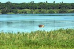 Boot op de rivier stock foto