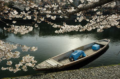 Boot op de rivier. stock afbeeldingen