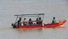 Boot op de Sava-rivier royalty-vrije stock afbeeldingen