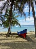 Boot op een tropisch strand met kokospalm royalty-vrije stock fotografie