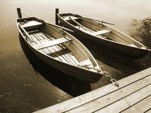 Boot op het meer (20), sepia Royalty-vrije Stock Foto