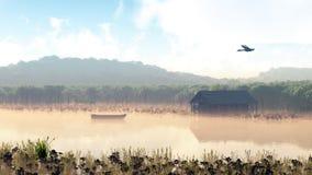 Boot op het meer bij ochtendmist Stock Foto