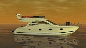 Boot op het oranje overzees vector illustratie