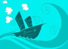 Boot op het overzees royalty-vrije illustratie
