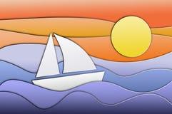 Boot op het overzees in de de zomerzonsondergang stock illustratie