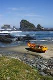 Boot op het strand stock foto