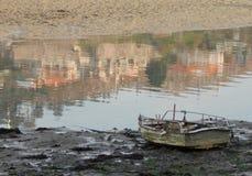 Boot op kust spanje europa royalty-vrije stock afbeelding