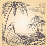 Boot op overzeese kust vector illustratie