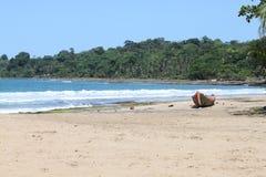 Boot op tropisch strand Royalty-vrije Stock Fotografie